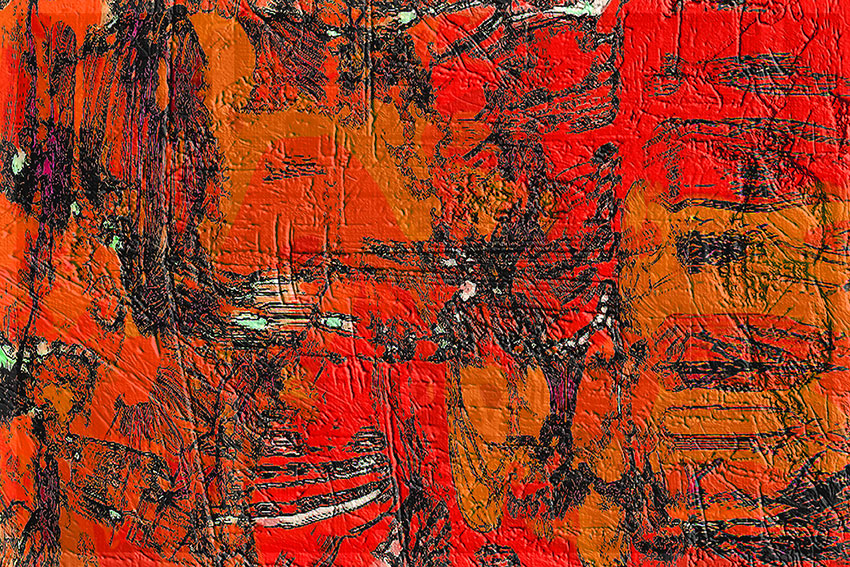 Abstract where red and orange predominate with emphasis on texture from paint build up with different brushes, as well as rough scratches and indents.