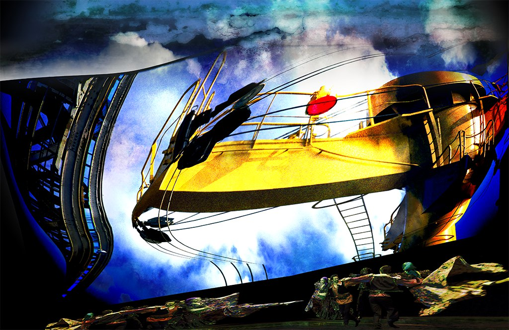 Crane Dance, or originally, Dance of the Cranes - an industrial, surreal-expressionist, fine art fantasy scene of cranes dancing on the waterfront