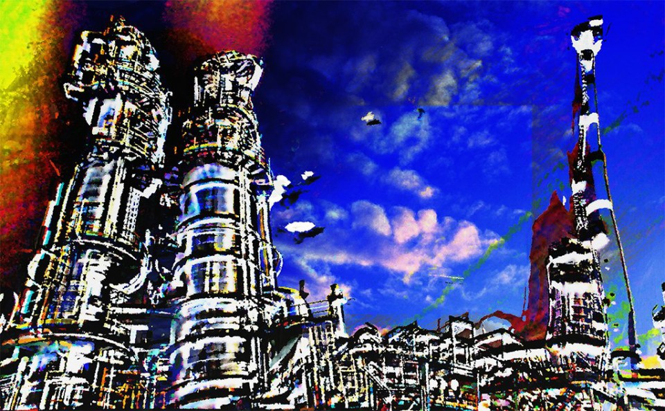 industrie, industry, an allegorical, abstract expressionist work depicting an industrial plant.