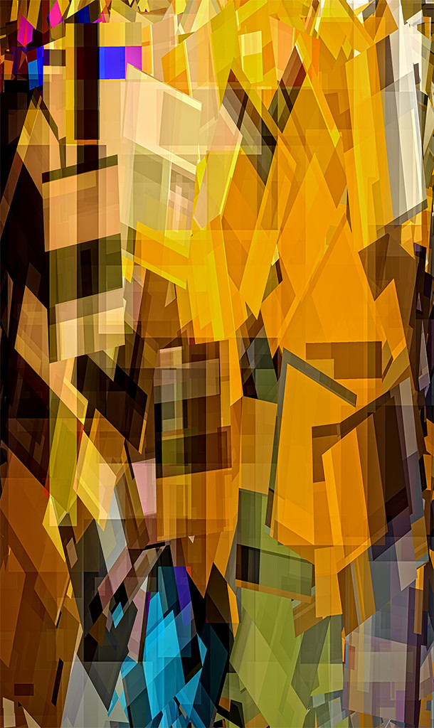 Scaffold of Sunshine - a geometric abstract of shapes lines and panes, mostly in golden tones