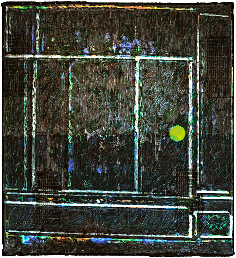 A heavily textured, partially geometric, abstract work of a door into the night and a world of darkness, and what lies beyond