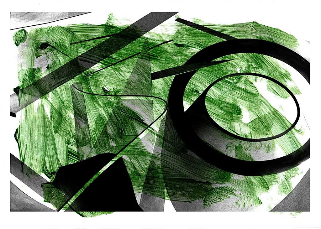 Shapes on Green - a geometric abstract work by Gottfried, Berlin