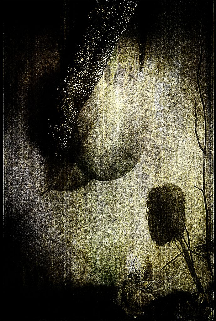 Wither in Gold by Artist Gottfried Berlin. Erotic withering, decay, flower, breast