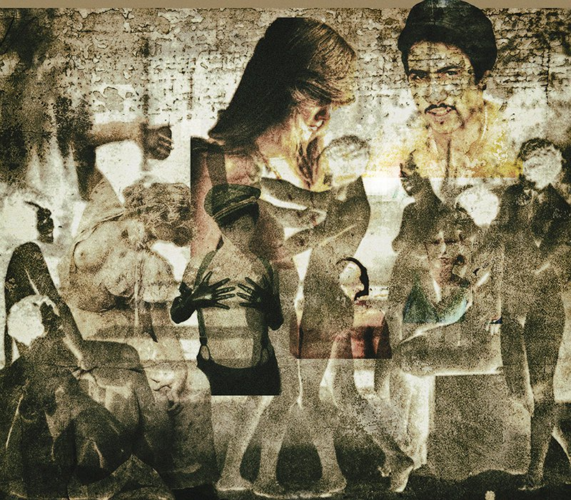 Cameo Layers is a small, expressionist collage of a heavy grunge background,overlaid with images portraying cameos of deviance