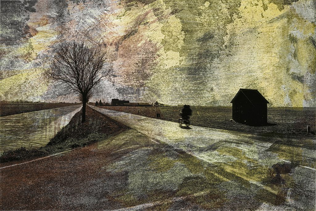 Twilight Ride / Fahrt ins Zwielicht by fine artist Gottfried, Berlin - painterly,landscape,muted colors,subdued,nature,cycle,bicycle,twilight,ethereal,atmospheric, peaceful,hidden,hidden imagery,imagery,contemplative