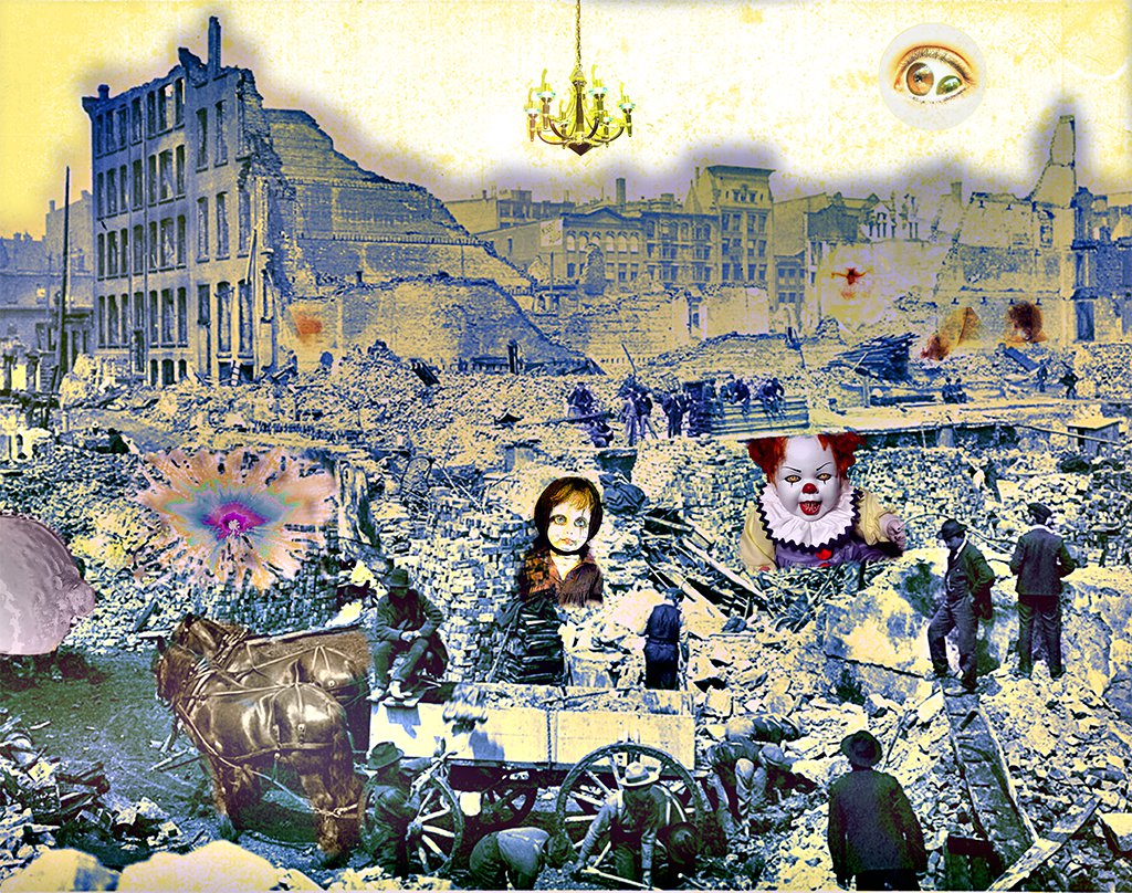 Desolated Chaos - A fine art, surreal collage containing elements of chaos, faces, figures, eyes, symbols, humanity, despair